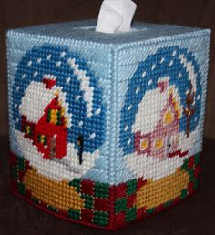 Winter Water Globe Tissue Box Cover by HandcraftedHolidays on Etsy, $15.00
