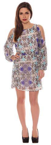 Alison Blue Aztec Chiffon Style Cut Out Cold Shoulder Belted Shift Dress