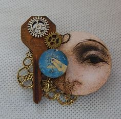 Steampunk Altered Art Doll Face Brooch or Scarf Pin Wood Handmade NEW Fashion #handmade