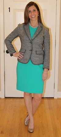 turquoise dress, grey tweed jacket, champagne colored pumps, classic choker pearl necklace, and pearl drop earrings