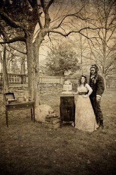 Steampunk wedding pic sepia tone