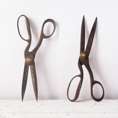 Antique Tailors Shears Scissors  19th Century Metal by fallaloft
