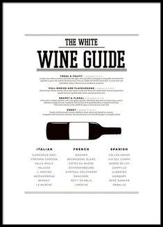 Poster med wine guide till köket, vita viner.