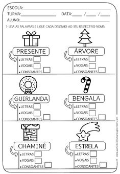ATIVIDADE PRONTA - LETRA, VOGAIS E CONSOANTES Portuguese Lessons, Christmas Coloring Pages, Christmas Colors, Bingo, Professor, Education, School, Language Activities, Writing Activities