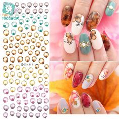 Rocooart DS311 Water Transfer Nails Art Sticker Harajuku Elements Colorful Water Drops Nail Wraps Sticker Manicura Decal #Affiliate