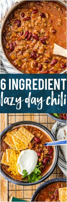 This 6 INGREDIENT LAZY DAY CHILI is one of our favorite recipes to make for a crowd. It's easy, SO FLAVORFUL, and made with ingredients you most likely already have in your pantry. It's perfect for game day and absolutely fool-proof. You won't believe how tasty this is! #beef #gameday #tailgating #superbowl #chili #spicy #easy via @beckygallhardin