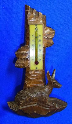 Vintage German Thermometer Wood Carved Deer with Tree Motive #CD