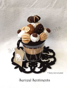 Mocha Chocolate Fudge Ice Cream Felt Cup with mini Hand-painted Card: Gift Box Included