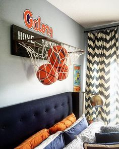 This is Brandon's Bedroom and I'm sharing it for this awesome hashie #HisCoolRoom (hosts are tagged in the picture) they want to see wall decor. My son is a total Sports fanatic and even though the rest of his room is pretty grown up I just love this 3D basketball hoop from @pbteen He's since moved into playing Football so I can't wait till they come up with some cool wall decor to match his new passion. Would you girls like to share? Jaime @lifeonwoodhaven Jan @janscarpino and Michelle…