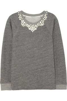 J.Crew Crystal-embellished cotton-terry sweatshirt NET-A-PORTER.COM