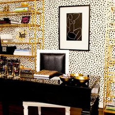 Contemporary Home Office Furniture & Interior Design With Adorable Black White Polka Dot Wallpaper And Gold Storage Interi Home Office Designs