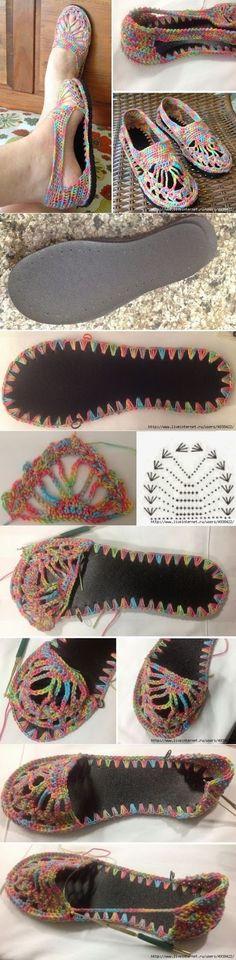 Paso a paso: cómo hacer zapatos o sandalias al crochet /Step by step: how to crochet shoes or sandals | Tejido Facil                                                                                                                                                      Más