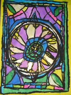 "4th grade Stained glass window style watercolor painting; 18"" X 24""; art teacher: Susan Joe"