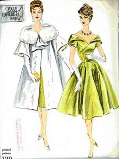 On Sale Vintage Vogue Couturier Design Pattern 190 - Misses' One Piece Dress and Coat - Evening Glamour - Sz 3 Moda Vintage, Vintage Mode, Vintage Style, 50s Vintage, Vintage Ideas, Retro Style, Vintage Vogue Patterns, Vogue Sewing Patterns, 1950s Dress Patterns