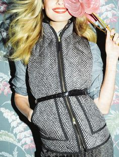 Belted herringbone vest, love!