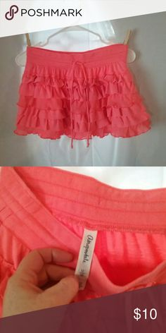 Aeropostale Skirt Gently worn Aeropostale skirt with ruffles, coral color Aeropostale Skirts Mini