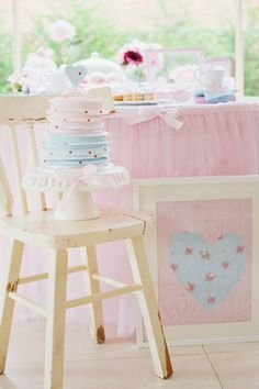 Romantic Valentine's Day Tea Party via karaspartyideas.com #valentine's #party #ideas #cake