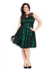50S Vintage Plus Size Lace Dress Green