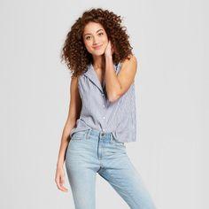 1ff1c0cf7ad3c Women s Any Day Notch Collar Sleeveless Shirt - A New Day™ Blue