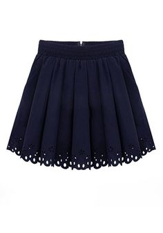 Dark Blue Pleated High Waist Above Knee Polyester Skirt