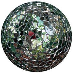 Mosaic mirror gazing ball. Website- Mosaic Mad