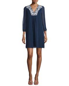 DIANE VON FURSTENBERG Maslyn Embroidered Silk Shift Dress, Midnight. #dianevonfurstenberg #cloth #