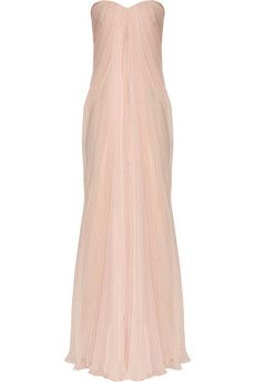 Alexander McQueen silk-chiffon bustier gown is to die for! really want to buy this and find a place to wear it