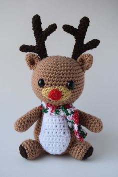 Reindeer Crochet Reindeer Christmas Red Nose Reindeer With Scarf Amigurumi Stuffed Animal Stuffed Doll Stuffed Toy Gift Christmas Decor  ************************************************************************************  Straight from the North Pole, this little guy is ready to play reindeer games this holiday season! He would be the perfect addition to any home for decor or as a toy. Made in a smoke free environment. Materials: ~ I Love This Yarn! (100% Acrylic) in toasted almond, red…