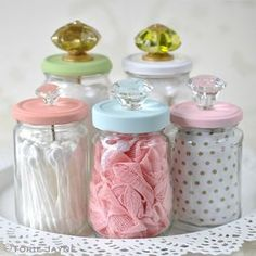 Upcycled glass jars with knobs