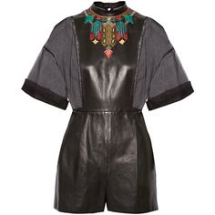 Valentino - Embroidered Silk-organza And Leather Playsuit ($2,986) ❤ liked on Polyvore featuring jumpsuits, rompers, black, colorful romper, playsuit romper, leather rompers, colorful rompers and leather romper