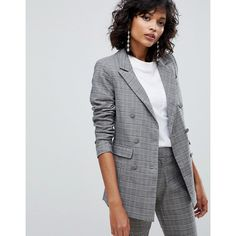 Y.A.S Boyfriend Check Blazer (295 BRL) ❤ liked on Polyvore featuring outerwear, jackets, blazers, multi, leather blazer jacket, checkered jacket, boyfriend leather jacket, boyfriend blazer and blazer jacket