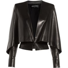 Balmain Leather Jacket with Bat Sleeves (16.780 BRL) ❤ liked on Polyvore featuring outerwear, jackets, tops, coats, balmain, black, leather jacket, leather cape jacket, rocker leather jacket and genuine leather jacket