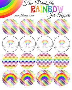 Free Printable Rainbow Mason Jar Toppers | Rainbow Printables