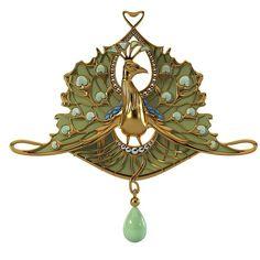 Lalique Art Nouveau Peacock Pendant | JV