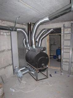 К патрубкам с горячим воздухом присоединить воздуховоды