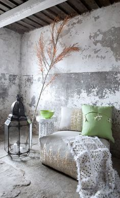 country chic moroccan style. embroidered floor cushions and the moroccan handira wedding blanket.