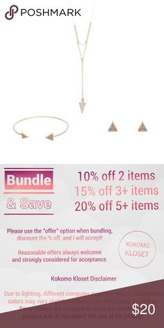 "Minimalist Rose Gold Triangle Dainty Jewelry Set Rose Gold Color Minimalist Y Shape Triangle Necklace with matching Open Bangle Bracelet and Stud / Post Earrings Jewelry Set Material: Zinc Alloy  Apps Size: Necklace- 45cm plus 6cm extended , drop is 7cm, Bracelet- 5.5cm, Earrings- .75cm  Bundle Savings  10% off 2 items 15% off 3+ items  20% off 5+ items Please use the ""offer"" option when bundling, discount the % off, and I will accept!  Tags : dainty jewelry chain follow game work simple…"