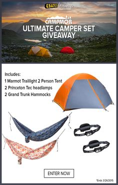 Dreaming of an outdoor adventure? Let us help get you started with a chance to win the Ultimate Campers Set from Campmor, total value $449!
