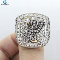 2014 Spurs championship rings Black Red Enamal Crystal Silver Pleated Ring Men