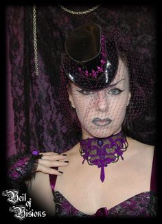 Elegant Victorian hat with Fleur de Lis embroidery & matching netting. £35
