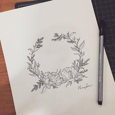poppy laurel wreath #hongdam #tattooisthongdam #tattoo #tattoodesign #drawing #illust #illustration #artwork #laurelwreath #홍담 #타투이스트홍담 #타투 #타투디자인 #드로잉 #월계관 #일러스트