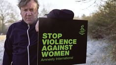 Ray Winstone faces harsh conditions to urge everyone to stop violence against women.