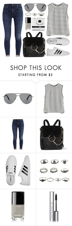 """Concert Look"" by smartbuyglasses ❤ liked on Polyvore featuring Tom Ford, Chloé, adidas, Chanel, By Terry, Nikon, Christian Dior, white, black and stripe"