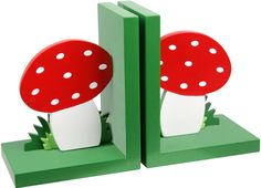 Toadstool bookends-- sooo sweet, I want very much.