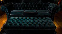 Deep Emerald Green Chesterfield Sofa & Ottoman