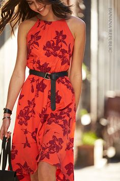 Needs to be knee length Red Floral Maxi Dress ec52dc86944