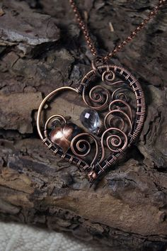 Valentine's gift Copper heart with serenity by AnnTitovaDesign
