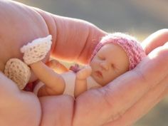 "One of my Tiny OOAK Baby Art Doll sculpts my ""Silver Dimples Nursery"" of Polymer Clay Creations."