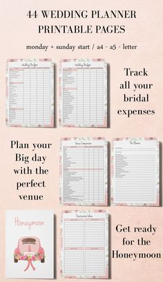 Printable Wedding Planner, DIY Planner, Engagement Gift for Bride, Wedding Planning Book