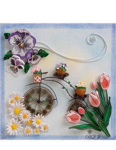 Pansies, Daisies, Tulips and a Cylcle by Japanese Artist Yumi Broussard